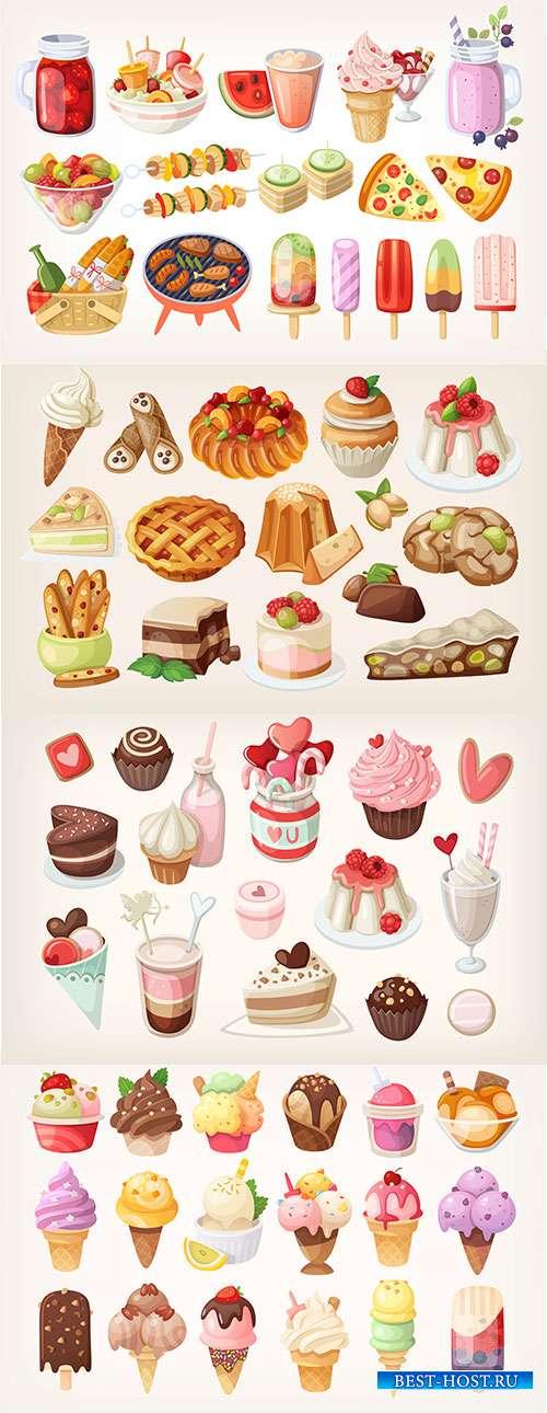 Вкусное мороженное и аппетитное пирожное - Векторный клипарт