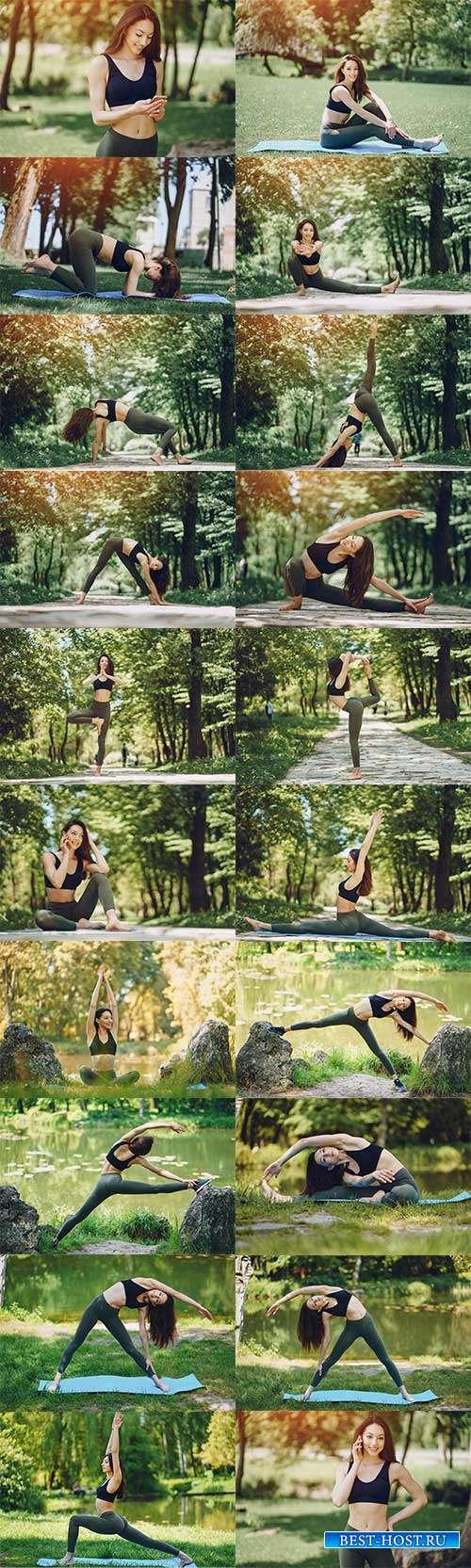 Девушка занимается йогой - Фотоклипарт