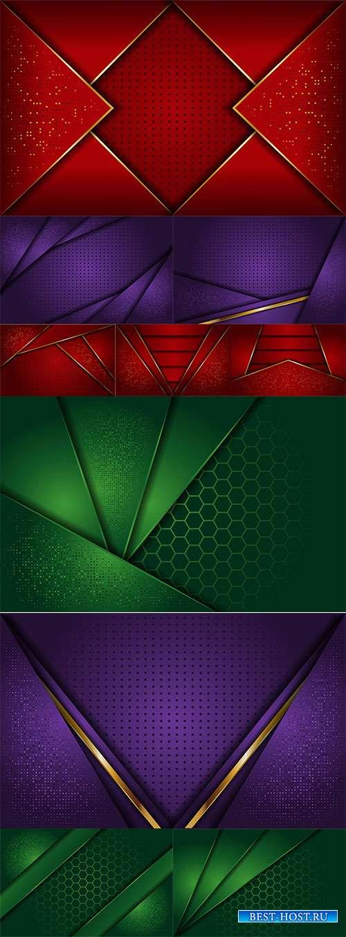 Элегантные фоны в векторе - Красные, зелёные, фиолетовые с золотыми линиями