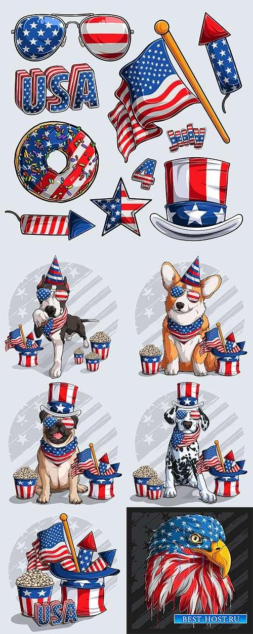 Собаки с предметами символики Америки - Векторный клипарт