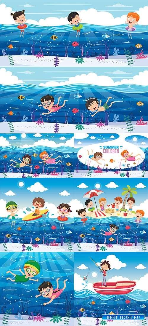 В морской воде, как в невесомости - Векторный клипарт