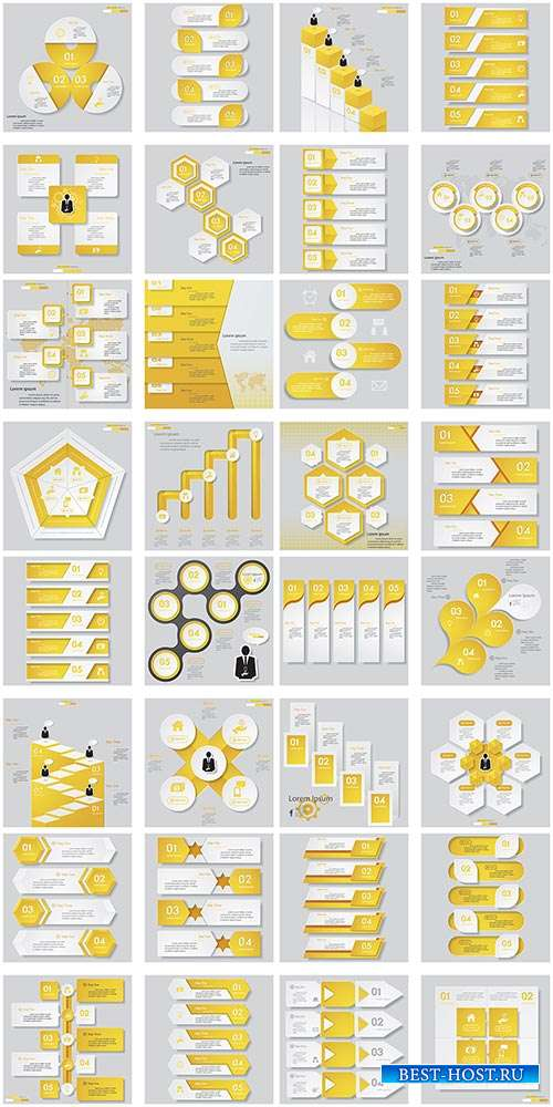 Инфографика в жёлто-белых тонах - Векторный клипарт