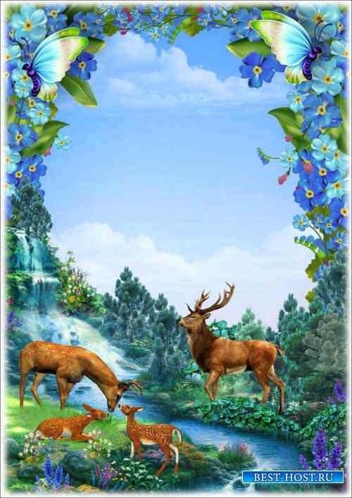 Цветочная рамка с пейзажем - Умчи меня, Олень в свою страну оленью...