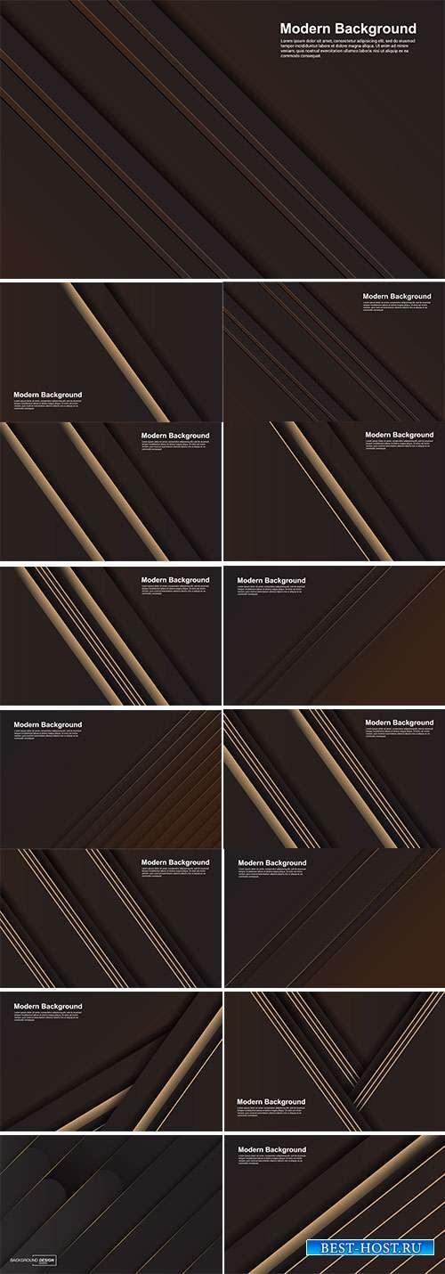 Коричневые векторные фоны с золотыми полосами