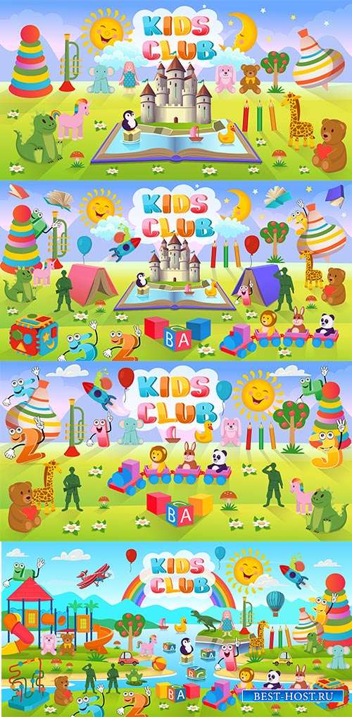 В сказочной чудес стране приключения ждут вдвойне - Векторные летние детские фоны