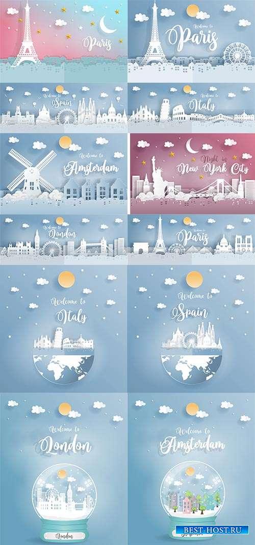 Мир многогранный и удивительный - Города мира в векторе