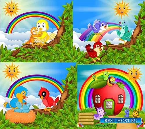 Улыбки, волшебство и смех готовит радуга для всех - Векторные летние фоны