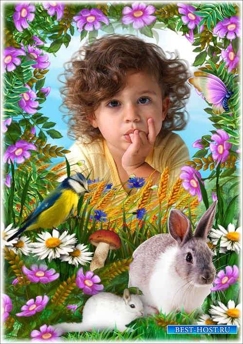 Летняя рамка для фото с зайчиком - В полях заколосилась рожь