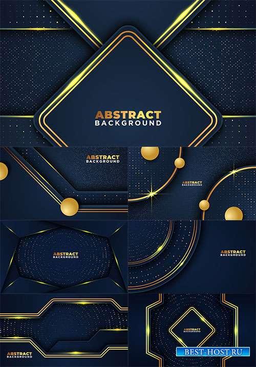 Векторные тёмные фоны с оригинальными золотыми линиями