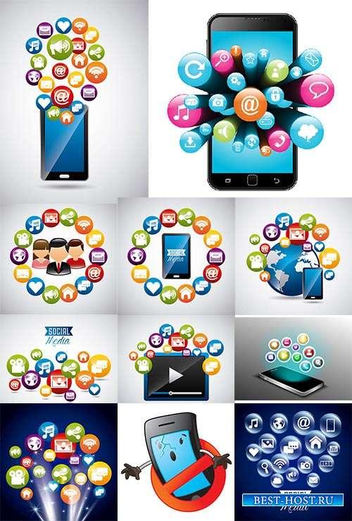 Иконки соцсетей - Векторный клипарт