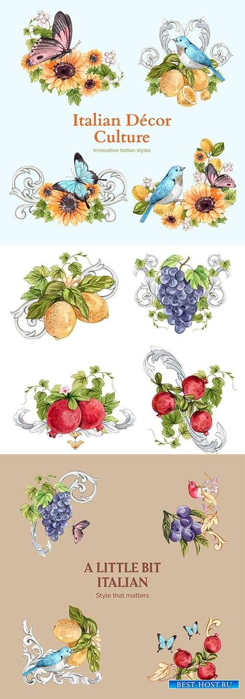 Символ чистоты и вдохновения - бабочки, цветы и ягоды в акварели - Векторны ...