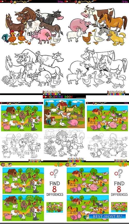 Детские раскраски с животными - Векторный клипарт