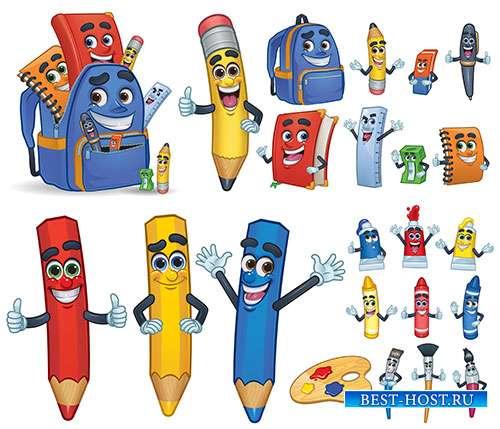 Яркая палитра цветных карандашей - Векторный клипарт