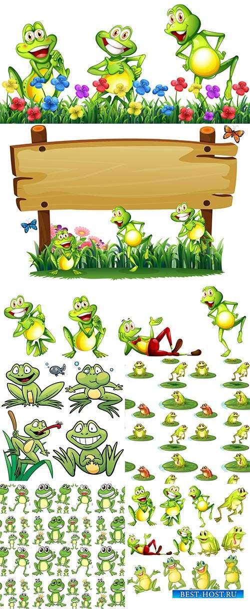 На пруду поют лягушки развеселые частушки - Векторный клипарт