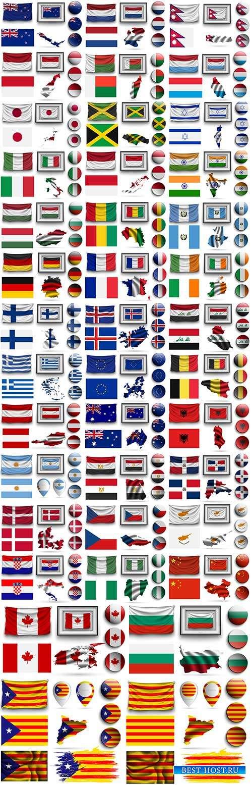 Иконки с флагами и символикой разных стран - Векторный клипарт