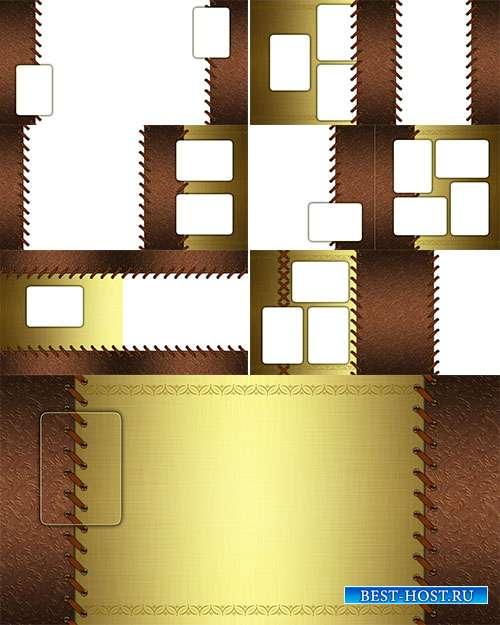 Фотоальбом в коричнево-золотых тонах с плетёнкой