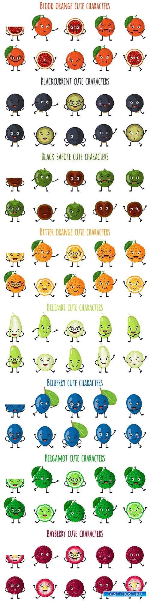 Забавные эмоции фруктов и овощей - 4 - Векторный клипарт