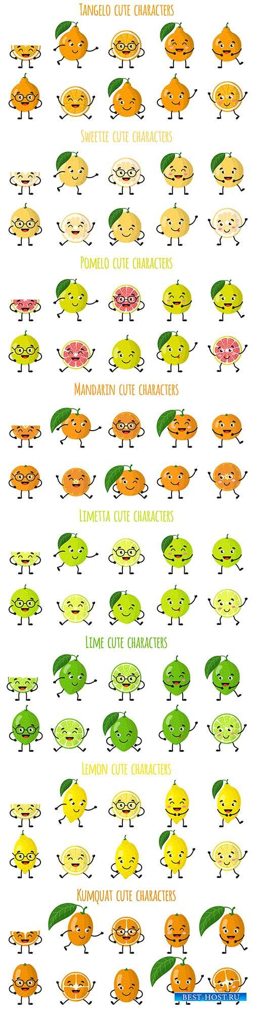 Забавные эмоции фруктов и овощей - 6 - Векторный клипарт