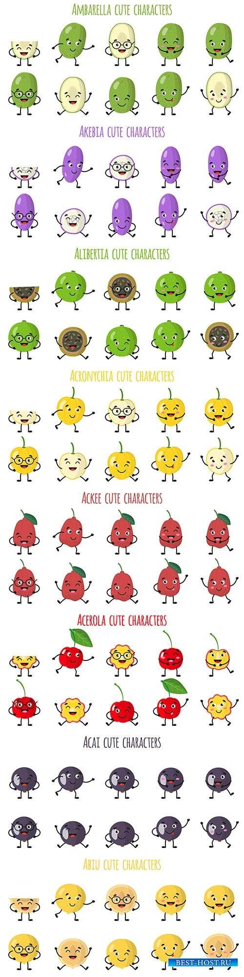 Забавные эмоции фруктов и овощей - 7 - Векторный клипарт