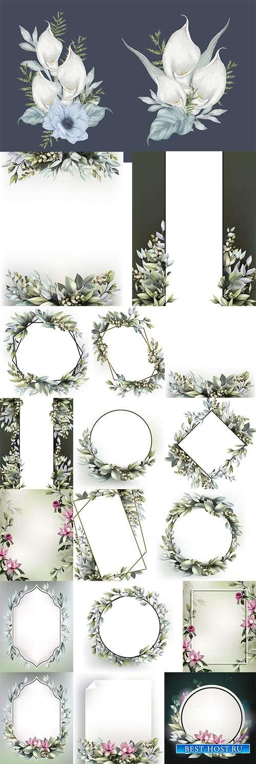 Фоны с цветочными рамками для поздравлений и приглашений в векторе
