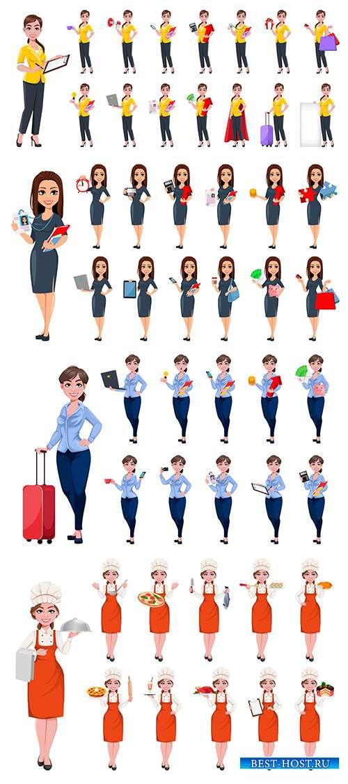 Женщины разных профессий - Векторный клипарт