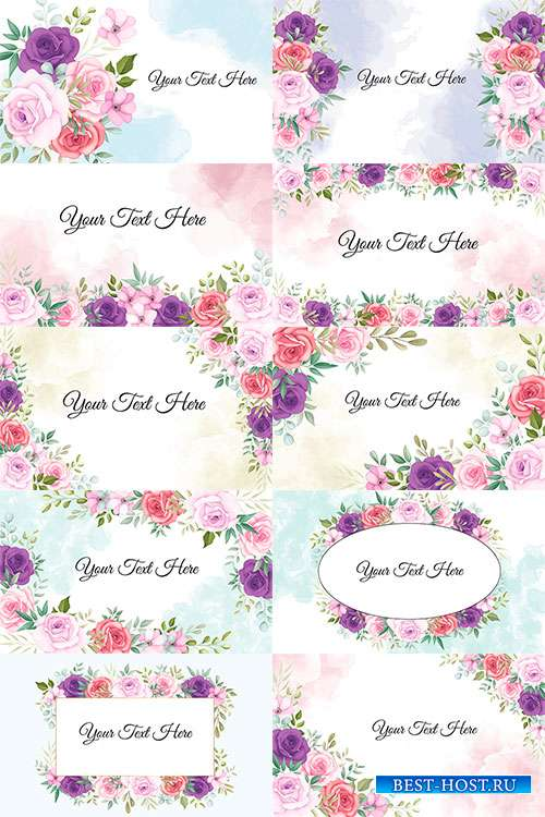 Элегантные цветочные векторные фоны для поздравлений