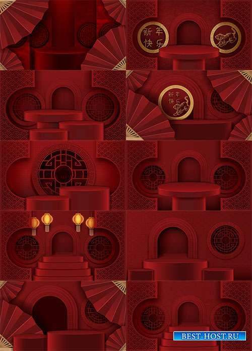Красные векторные фоны в китайском стиле