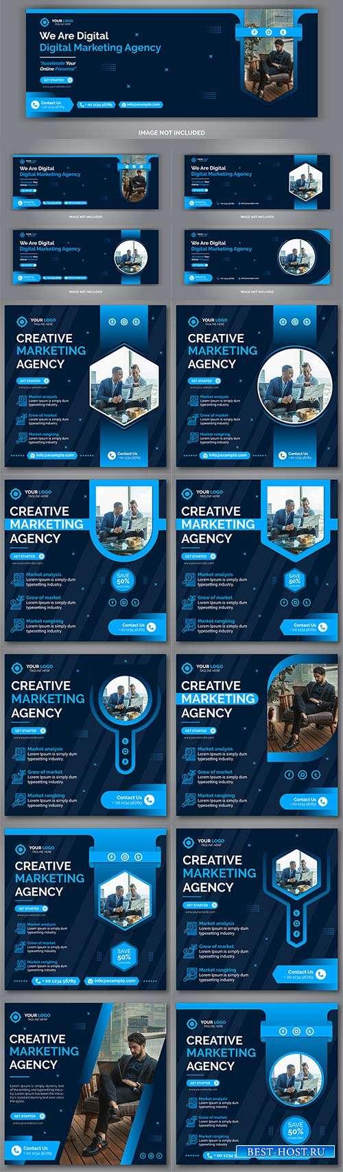 Креативные шаблоны для медийных сайтов - Векторный клипарт