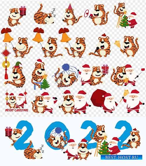 Санта Клаус и тигр - Новогодние векторные иконки с символом 2022 года