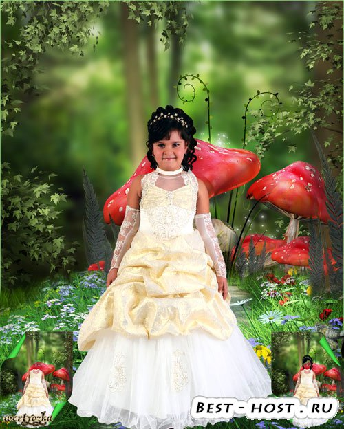 Многослойный детский psd шаблон - Очаровательная девочка в нарядном платье  ...