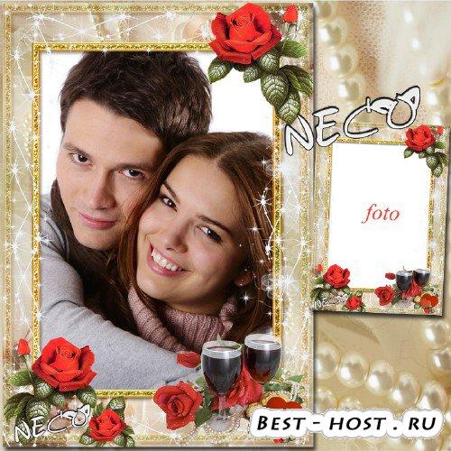 Романтичная рамка с красными розами - Эликсир любви