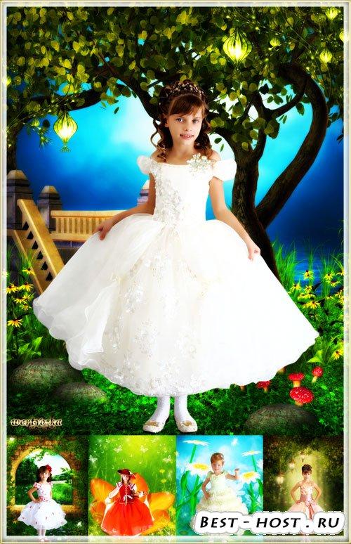 Собрание детских шаблонов для девочки - Очаровательные маленькие принцессы  ...