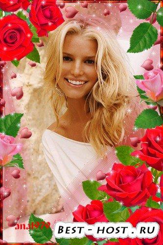 Супер Рамка для фотошопа с красными розами -Пусть  глаза сияют солнцем счас ...