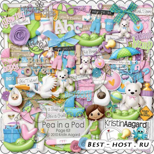 Фото Детский скрап-набор для дизайна фотоальбома - Горошек в стручке. Scrap ...