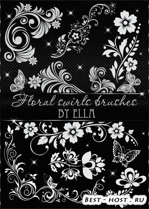 Декоративные цветочные кисти для дизайна в программе Фотошоп