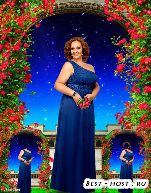 Многослойный шаблон для пышных женщин - Девушка в синем платье на фоне чуде ...