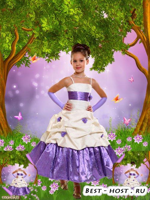 Многослойный детский psd шаблон - Девочка в нарядном платье среди чудесных  ...