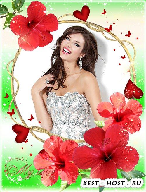 Романтичная рамка для фото - Китайские розы цветы страсти и любви