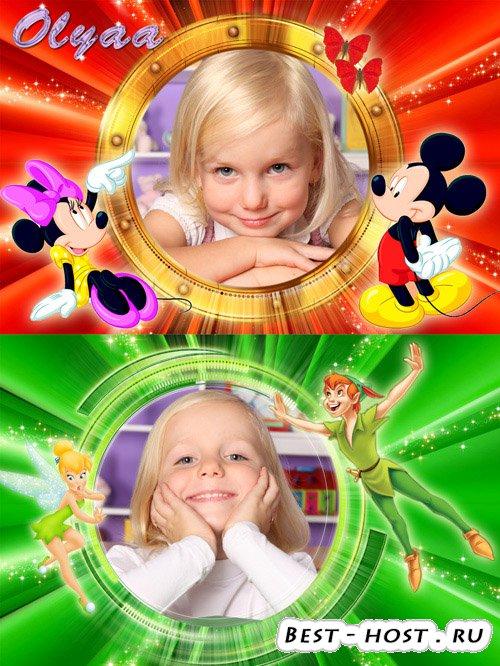 Две детские рамки для фотошоп с диснеевскими персонажами