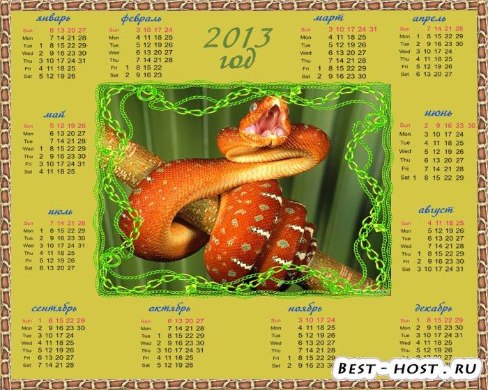 Календарь на 2013 год - змея атакует