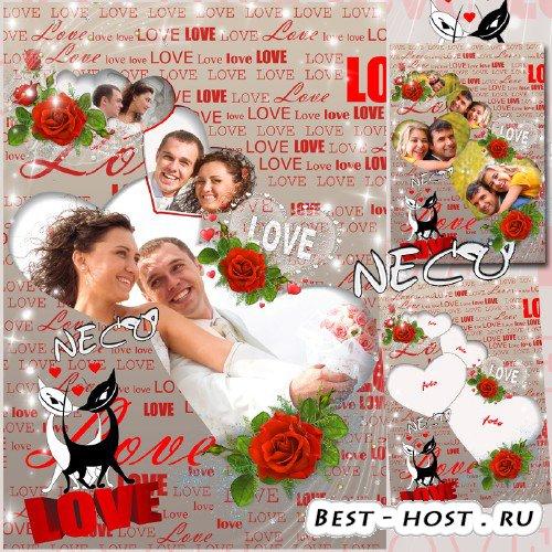Романтическая рамка с красными розами и кошками - Время любви