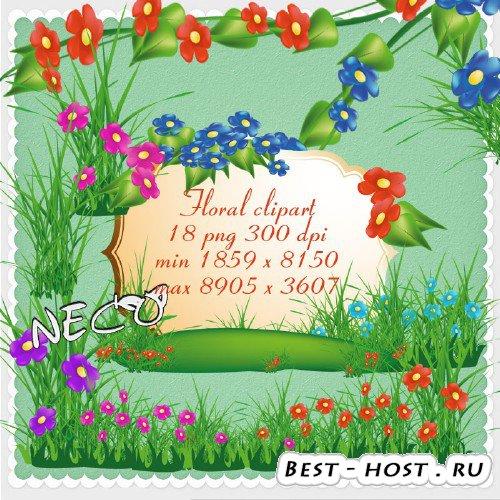 Растительный клипарт с цветами, полянками и травой PNG