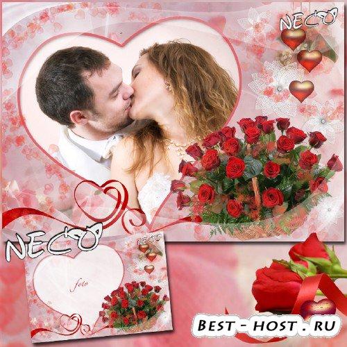 Романтическая рамка с корзиной красных роз