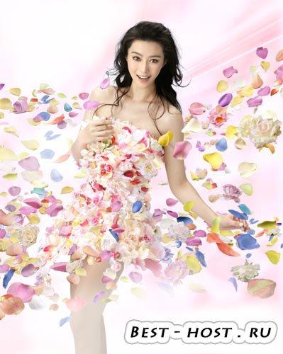 PSD исходник - Девушка в лепестках роз