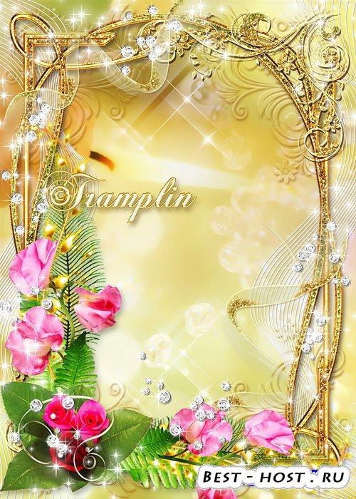 Рамка шаблон для фото. Фотография рамка стиля Золота с розами