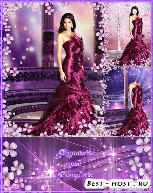 Многослойный женский psd шаблон - В темно-малиновом вечернем платье