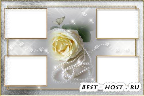 Фоторамка - Шаблон PSD Роза с бусами