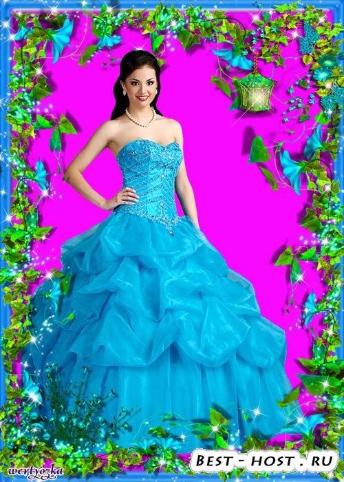 Шаблон Цветочной рамки для фотографии - Небесно-синие цветы