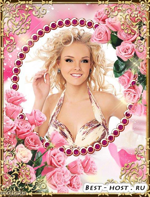 Рамка для фото - Букеты из прекрасных розовых роз