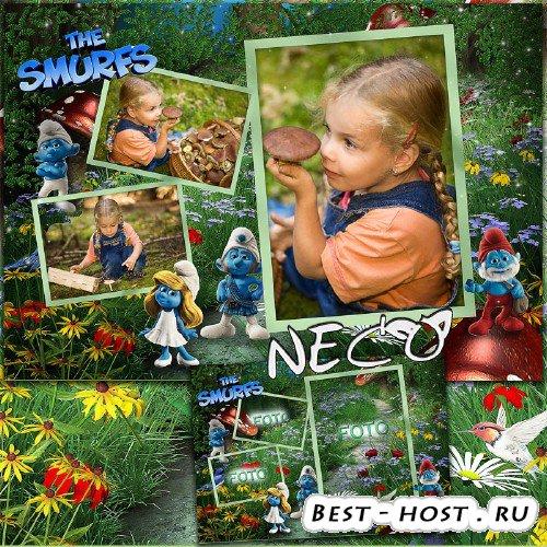 Детская фоторамка со смурфами на три фото - В чудесном лесу 2